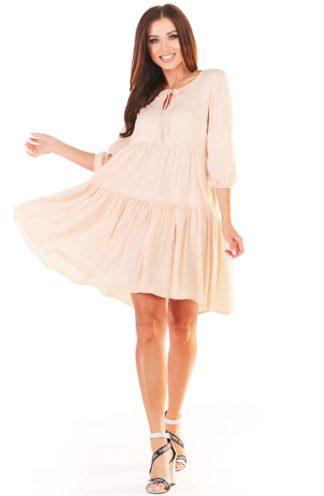 Luźna sukienka z falban beżowa
