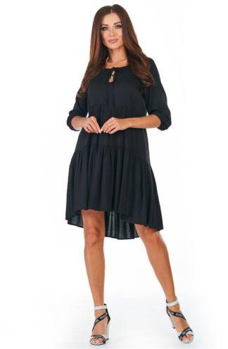 Luźna sukienka z falban czarna