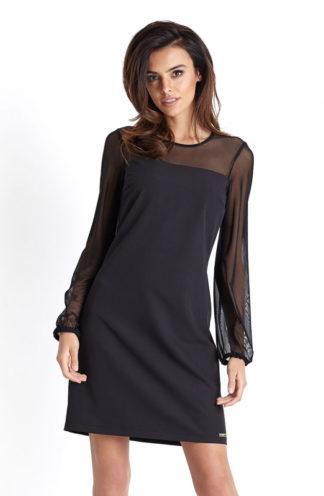 Wizytowa sukienka z transparentnym rękawem czarna