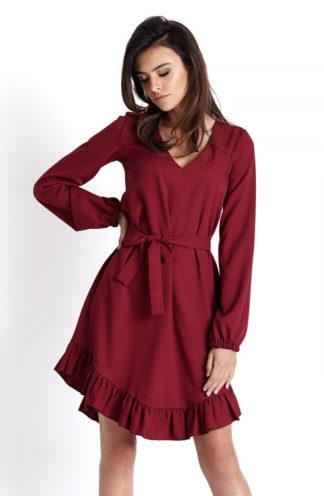 Asymetryczna sukienka z falbanami bordowa