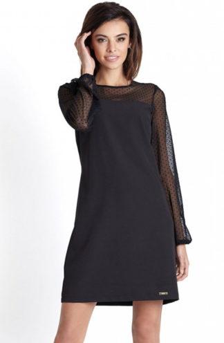 Wizytowa sukienka z rękawem w kropki czarna