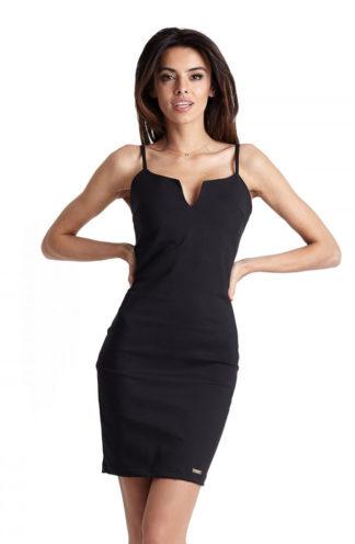 Dopasowana sukienka na ramiączkach czarna