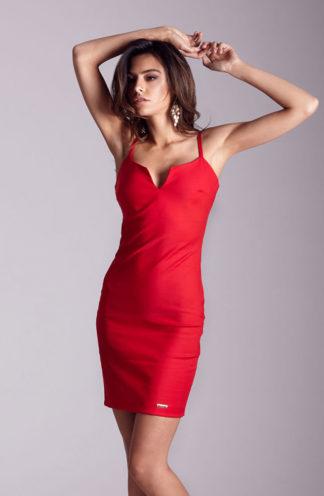 Dopasowana sukienka na ramiączkach czerwona