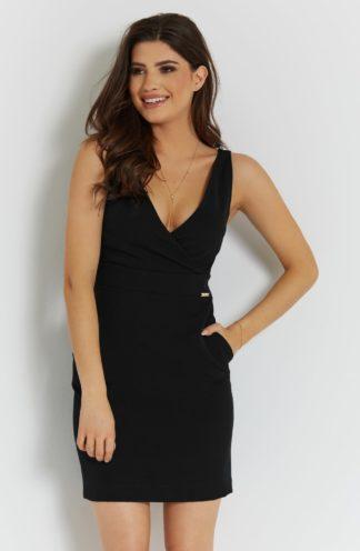 Mini sukienka z kopertowym dekoltem czarna