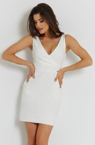 Mini sukienka z kopertowym dekoltem ecru