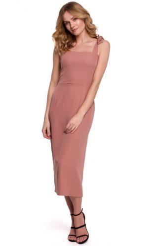 Sukienka midi na ozdobnych ramiączkach różowa