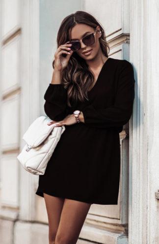 Sukienka mini z gumką w pasie czarna