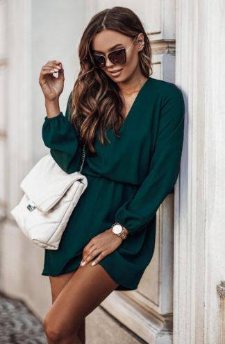 Sukienka mini z gumką w pasie zieleń