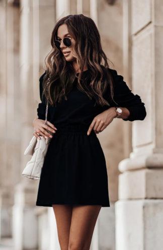 Komplet z prostą spódnicą czarny