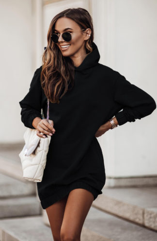 Dresowa sukienka z kapturem czarna