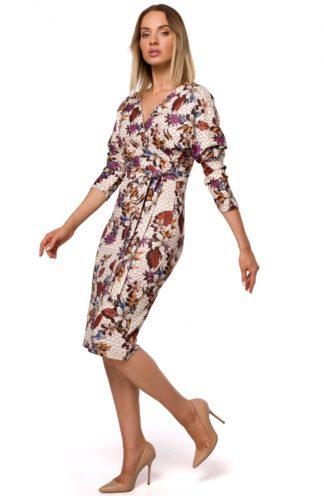 Kopertowa sukienka w kwiaty ecru