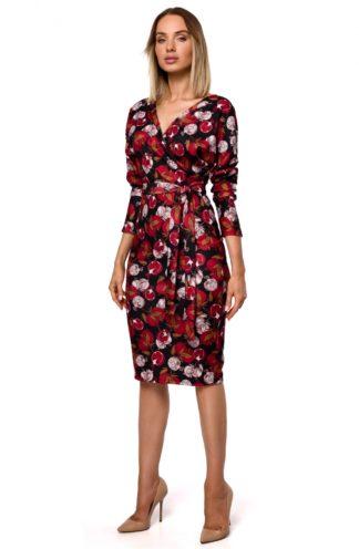 Kopertowa sukienka w kwiaty czerwona