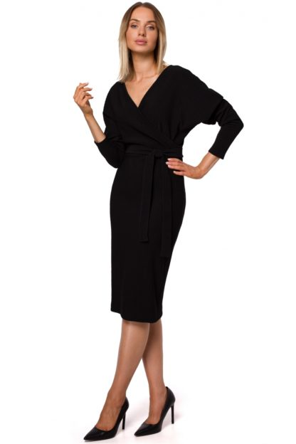 Kopertowa sukienka midi z wiązaniem czarna