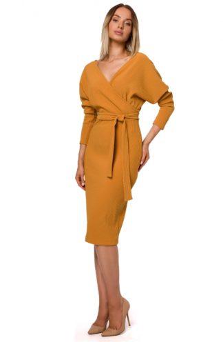 Kopertowa sukienka midi z wiązaniem musztardowa