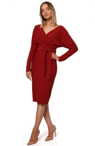 Kopertowa sukienka midi z wiązaniem bordowa