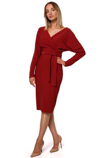 Kopertowa sukienka midi z wiązaniem ceglasta