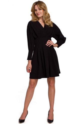 Sukienka mini z zakładkami i rękawem czarna