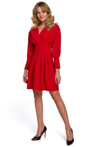 Sukienka mini z zakładkami i rękawem czerwona
