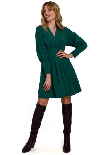 Sukienka mini z zakładkami i rękawem zielona