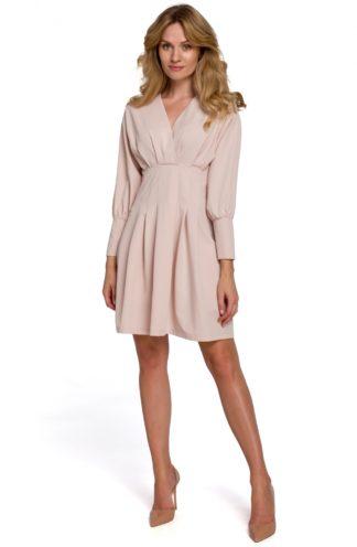 Sukienka mini z zakładkami i rękawem beżowa