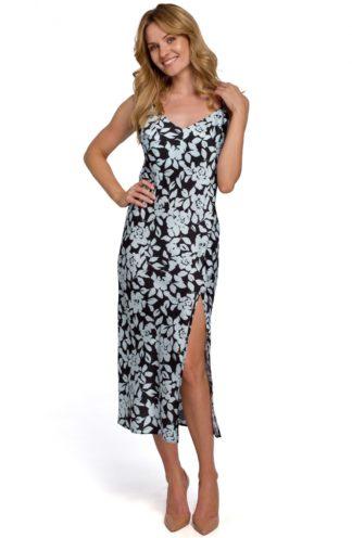 Sukienka midi na ramiączkach z rozcięciem czarna