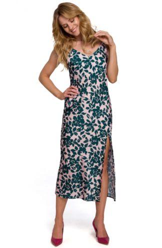 Sukienka midi na ramiączkach z rozcięciem zielona