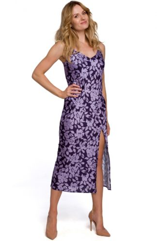 Sukienka midi na ramiączkach z rozcięciem fioletowa