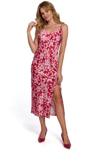 Sukienka midi na ramiączkach z rozcięciem czerwona