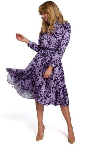 Sukienka ze stójką i wiązaniem fioletowa we wzory