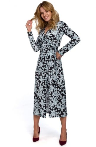 Sukienka midi z kopertowym dekoltem czarna