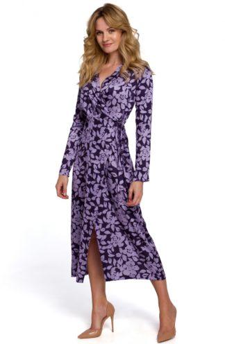 Sukienka midi z kopertowym dekoltem fioletowa