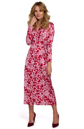 Sukienka midi z kopertowym dekoltem czerwona