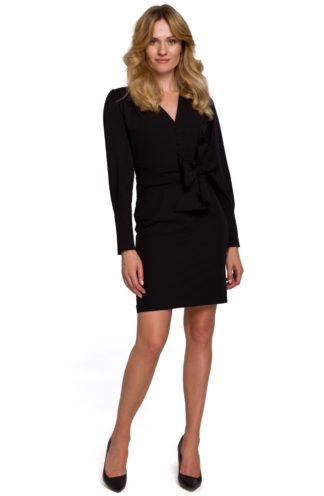 Sukienka mini z szerokim wiązaniem czarna