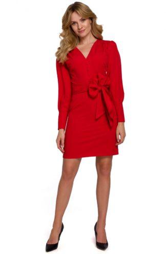 Sukienka mini z szerokim wiązaniem czerwona