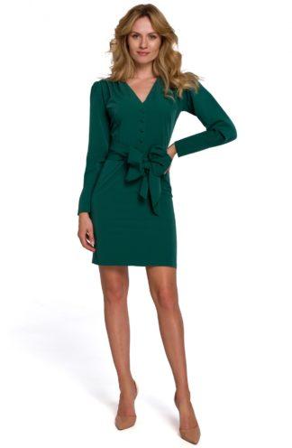 Sukienka mini z szerokim wiązaniem zielona