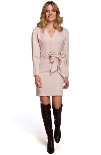 Sukienka mini z szerokim wiązaniem beżowa
