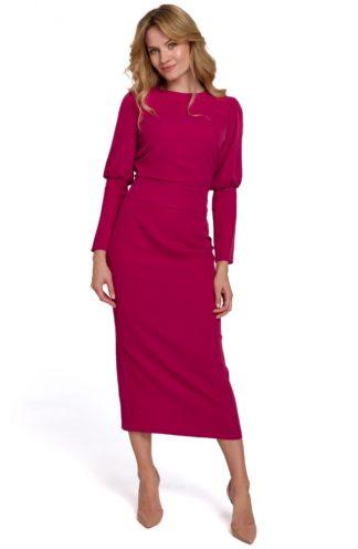 Sukienka midi z bufiastymi rękawami fuksja