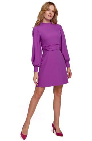 Mini sukienka z bufiastymi rękawami fioletowa