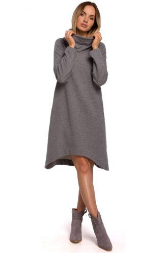 Asymetryczna sukienka z szerokim golfem szara