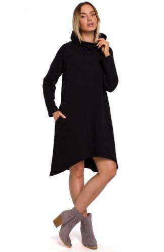 Asymetryczna sukienka z szerokim golfem czarna
