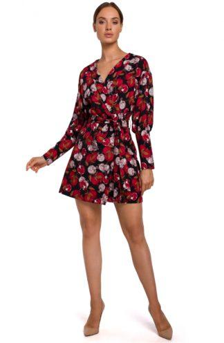 Wizytowa sukienka mini z wiązaniem czerwona