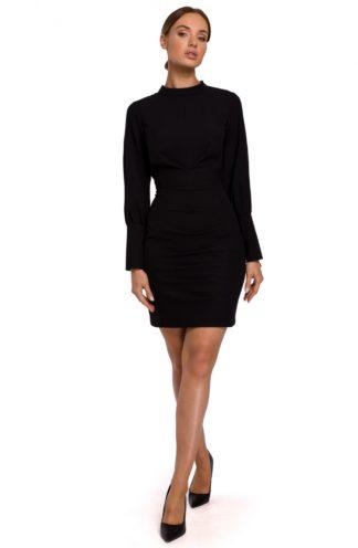 Sukienka biznesowa ze stójką czarna