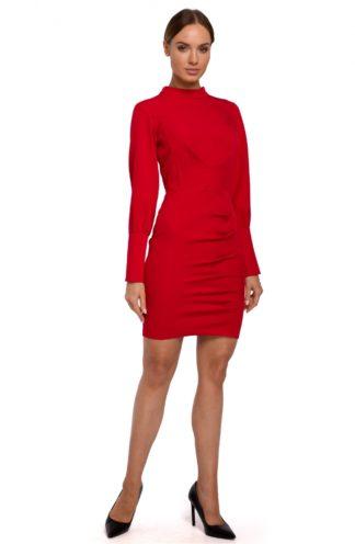 Sukienka biznesowa ze stójką czerwona