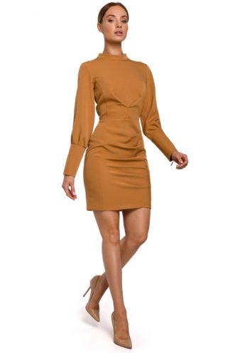 Sukienka biznesowa ze stójką jasny brąz