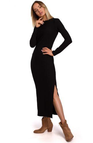 Długa sukienka z dzianiny czarna