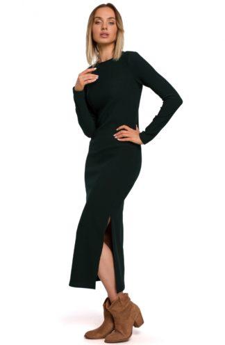 Długa sukienka z dzianiny ciemnozielona
