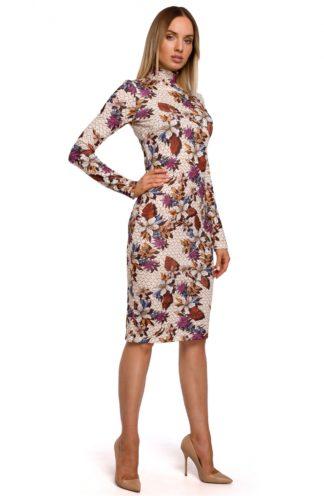 Sukienka ze stójką w kwiaty ecru