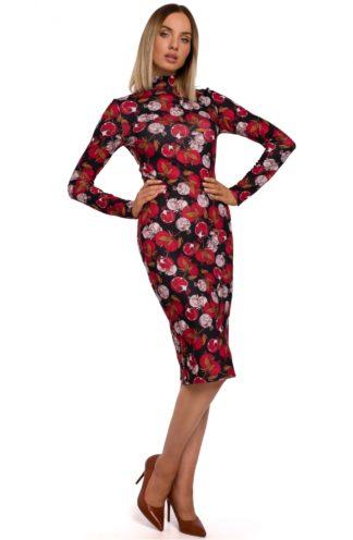 Sukienka ze stójką w kwiaty czerwona