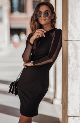 Dopasowana sukienka z transparentnym rękawem czarna