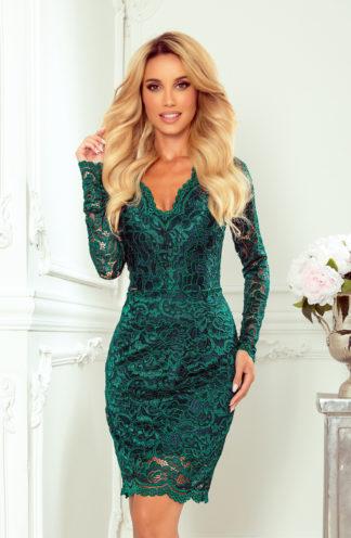 Sukienka koronkowa z rękawem zieleń butelkowa